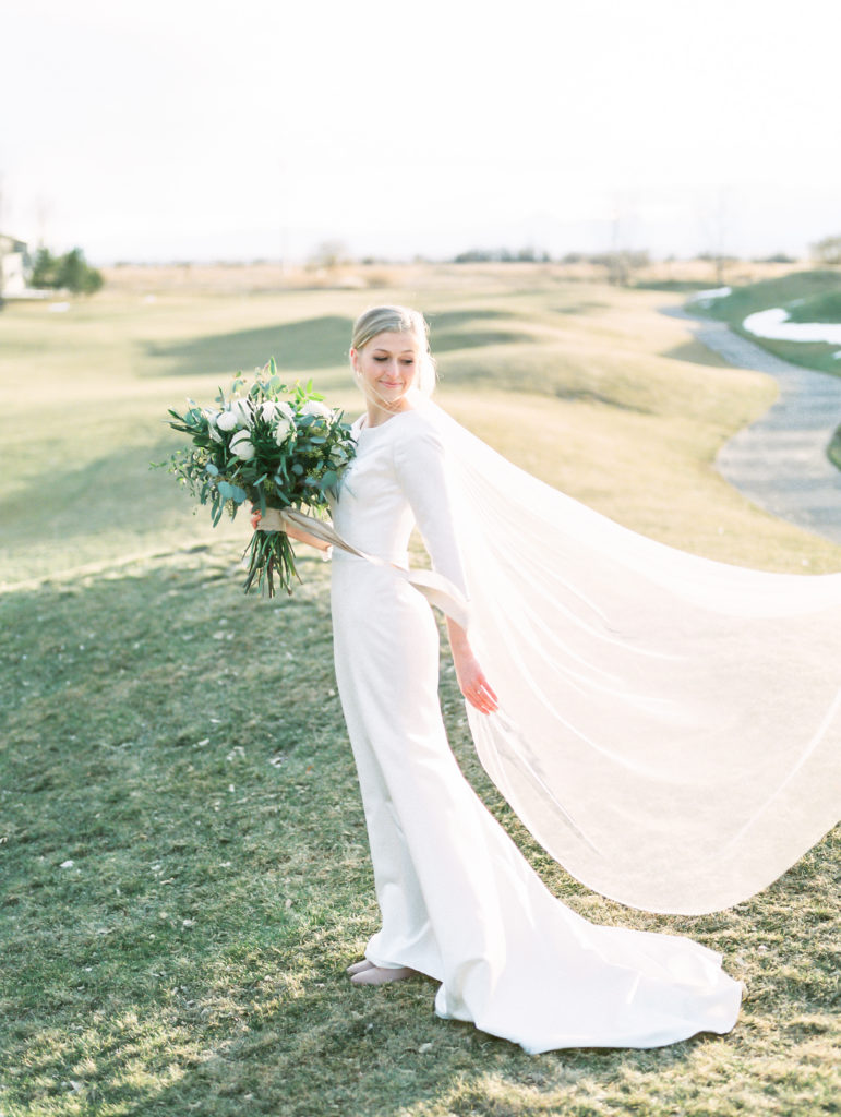 sleek modest wedding dress