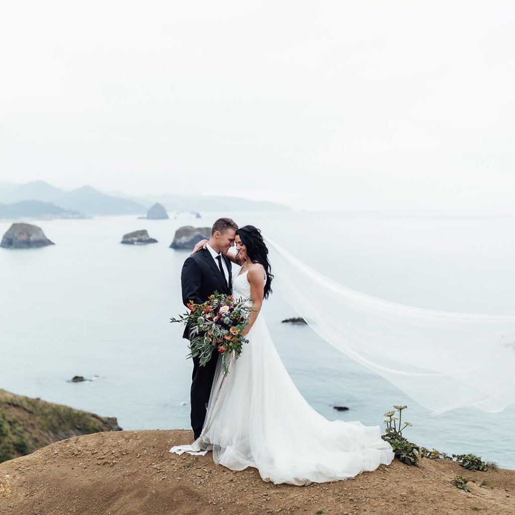 This photo shows the gorgeous train of the dress.