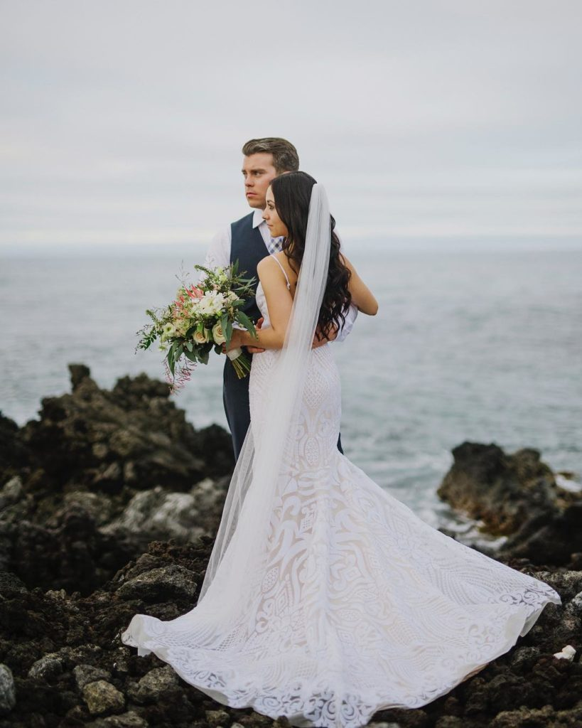 Our #BitsyBride Amber in her perfect dress in Hawaii. Photography by Bikini Birdie.